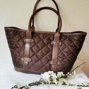 J. Crew Quilted Chocolate Brown Mid-Size Tote Bag